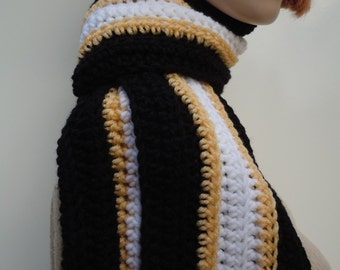 Sports Team Inspired Scarf, Black, Mustard Yellow, White Scarf - Team Spirit Scarf - Crochet Scarf