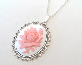 English Rose Necklace, Flower Necklace, Rose Cameo Necklace, Pink Rose Necklace in Silver or Bronze