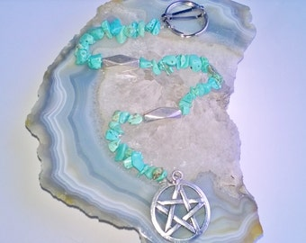 Turquoise Pentacle Decoration (38) Metaphysical healing, natural stones, healing stones, pentacle, Pagan and Wiccan accessories
