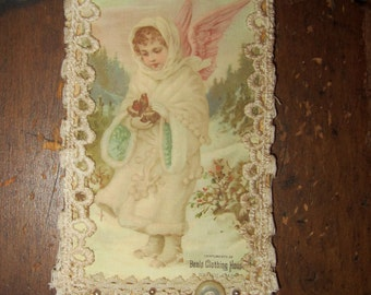 Vintage Lace Collage Victorian Winter Snow Angel Embellished Tag