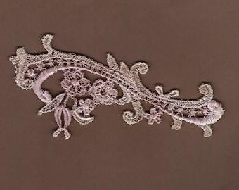 Hand Dyed Petite Floral Scroll Venise Lace Applique Vintage Lavender Latte
