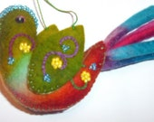 Felted, embroidered and beaded bird