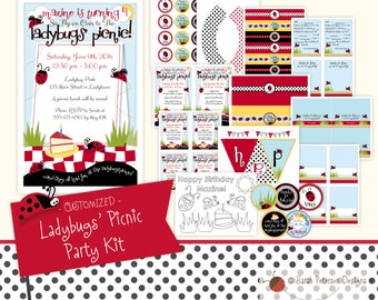 Custom Ladybugs' Picnic Birthday Party Printables Package