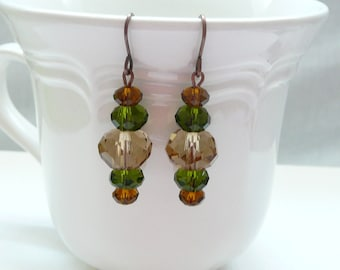 ndb-Brown and Olive Crystal Rondelle Dangle Earrings