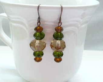 Brown and Olive Crystal Rondelle Dangle Earrings
