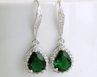 Green Dangle Wedding Earrings Bridal Jewelry Emerald green Bridal Earrings Bridesmaid Earrings Wedding Jewelry Cubic Zirconia Earrings, Esma