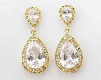 Gold Bridal Earrings Wedding Jewelry Clear CZ Gold Teardrop Earrings Gold Crystal Wedding Earrings, Evelyn