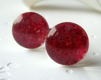 Candy Apple Red Cufflinks Red Ruby Cufflinks Cherry Red Round Silver Cufflinks July Birthstone Gift for Men Stained Glass Jewelry For Men