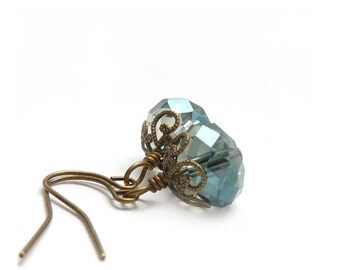 Pale Blue Earrings - Slate Blue - Petite Earrings - Antiqued Bronze Vintage Style - Light Blue Earrings, Short Dangles
