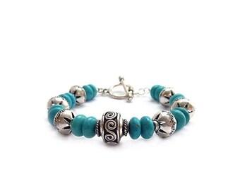 Turquoise Bracelet - Detailed Bali Style Silver - Toggle Clasp - Bohemian Bracelet - Southwestern Jewelry