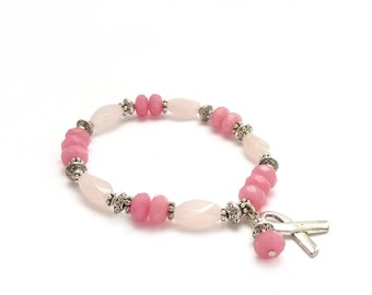 Rose Quartz Breast Cancer Bracelet - Pink Jade - Survivor - Silver Hope Ribbon - Awareness Stacking Bracelet - Charity Donation