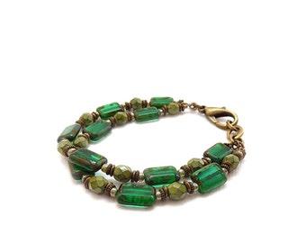 Emerald Green Bracelet - Picasso Rectangle Glass - Multistrand Bracelet - Kelly Green - Antiqued Brass - Boho Bracelet