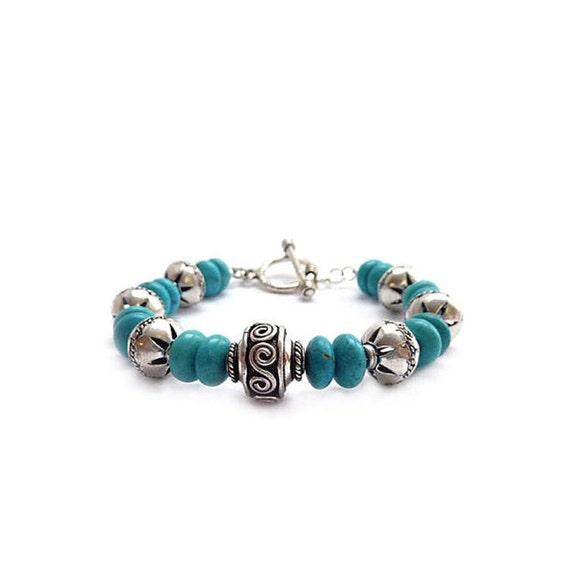Turquoise Bracelet - Southwestern - Bali Style Silver - Howlite Rondelle Beads - Bohemian Bracelet - Gift for Her