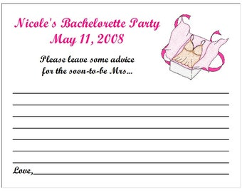 Personalized Bachelorette Party Advice, Hint or Wish Cards