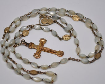 Antique Mother of Pearl and Gold Plate Rosary from France