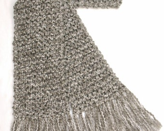 Gray Scarf, 6 ft Long Chunky Knit Scarf, Men or Women Winter Scarf, Light Grey Scarf, Light Gray Scarf