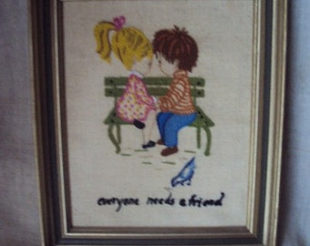 Vintage  Crewel  Needlepoint  of Young Sweethearts  Picture Everyone Needs a Friend