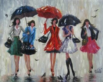 Five Rain Girls Art Print, five bridesmaids, five sisters, wall art, red, umbrellas five ladies in rain art, Vickie Wade Art