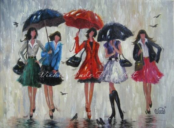 Five Rain Girls Art Print Five Bridesmaids By
