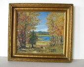 Vintage 40s West Texas Landscape Painting Fall