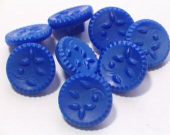 Beautiful Cobalt Blue Vintage Glass Buttons 12mm Set of 8 Shank Sewing Buttons
