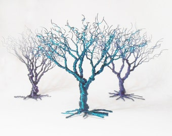 emerald blue grey dark blue wire art trees, miniature tree statues, minimalistic home decoration, green emerald may birthstone