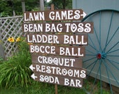 Wedding signs/ lawn game signs / outdoor weddings / yard games sign / corn hole sign / ladder golf sign / rustic signs / party decorations