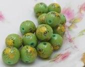 N594 Vintage Floral Beads Round 10mm Japan Tensha Rose Flowers Orange Old Antique NOS