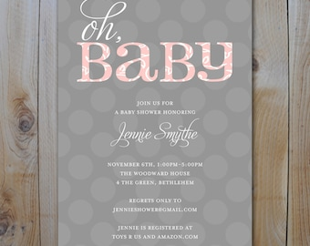 Oh BaBy Pink and Grey Baby Shower Invitation / Printable pdf file / PRINTABLE INVITATION / 13004