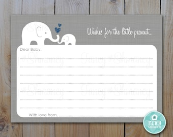 Elephant Baby Shower Advice Card / INSTANT DOWNLOAD / LIttle Peanut / PRINTABLE 10235