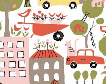 Organic Cotton Fabric-monaluna -Urban Patch- URBAN GARDEN petal  - low shipping