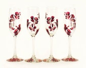 Hand-Painted Champagne Glasses - Dark Ruby Red Roses, Set of 4 - Personalized Custom Wine Lover Gift Champagne Flutes de champagne a Mariage