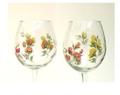 Hand-Painted Wine Glasses - Colorful Roses in Red Orange Peach Yellow, Set of 6 - Painted Wine Goblets Gardener Hostess Summer Wedding Gift