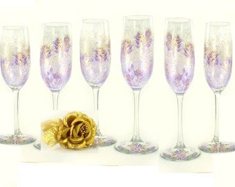 Hand-Painted Bachelorette Party Glasses, Lavender and Gold Roses, Set of 6 - Bridal Bridesmaid Champagne Flutes Wine Glass