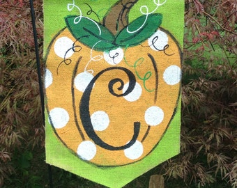 Fall Pumpkin Burlap Garden Flag with polkadots and Initial