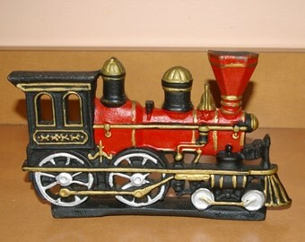Vintage Door Stopper, Locomotive,  Heavy Cast Iron,  4 Lbs. 10 oz. Large Size, Made in India, Hand Painted 1960's