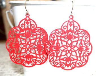 Red Filigree Earrings, Handpainted Earrings, Bronze Filigree Earrings,Earrings Boho Earrings Rustic Jewelry Dangle Earrings