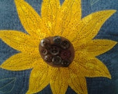 SALE!!! Sunflower pillow with button center