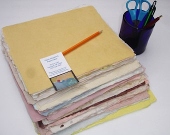 Eight beautiful sheets of handmade paper, 8 x 10 inches