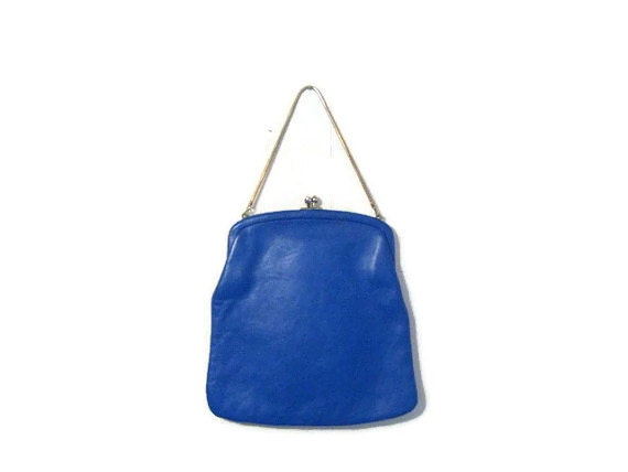 Reserved Vintage Blue Leather Purse 1950's  Mad Men Chain handle  clutch. Vibrant Color! Fashion Accessory! 1960's