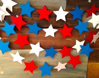 Red, White and Bright Blue Stars Nautical 4th of July Paper Garland Birthday Party Decor, Baby Shower, Nursery, Summer BBQ Party, Etc!