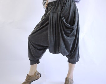 Funky Harem Boho Drop Crotch Dark Heather Grey Cotton Jersey Pants With Front Pocket And Elastic Waist