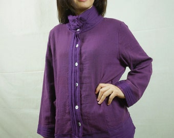 Artistic Fray - Plum Rayon Blend Linen Long Sleeve Fully Lined Blouse With Raw Frill And 2 Pockets - AT320