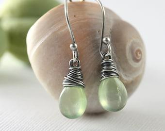 Prehnite Green Gemstone Earrings -  Raindrop -  Honeydew - Sterling Silver
