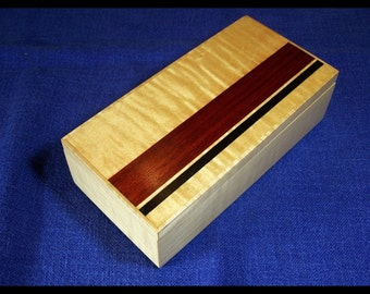 Valet Box Jewelry Box Dresser Box Maple Bloodwood Inlay, Custom Item
