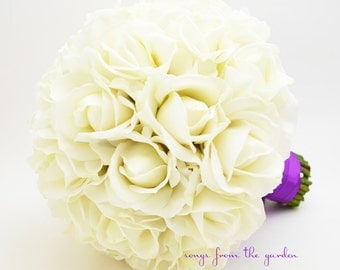 White Real Touch Roses Bridal Bouquet Groom's Boutonniere Purple Satin Ribbon - Customize for Your Colors