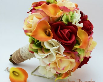 Autumn Wedding Bridal Bouquet Groom's Boutonniere Confetti Red Real Touch Roses Calla LilyFall Color Bouquet