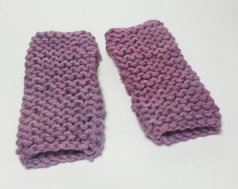 SALE - Super Chunky Hand Dyed Fingerless Mitts in Purple
