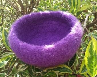 Felt Bowl, Orchid Wool Felt Bowl, Handmade Bowl, Crochet Bowl, Wool Bowl