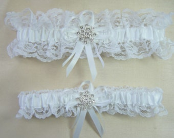 WINTER SNOWFLAKE Wedding Garters White lace Rhinestone Garter